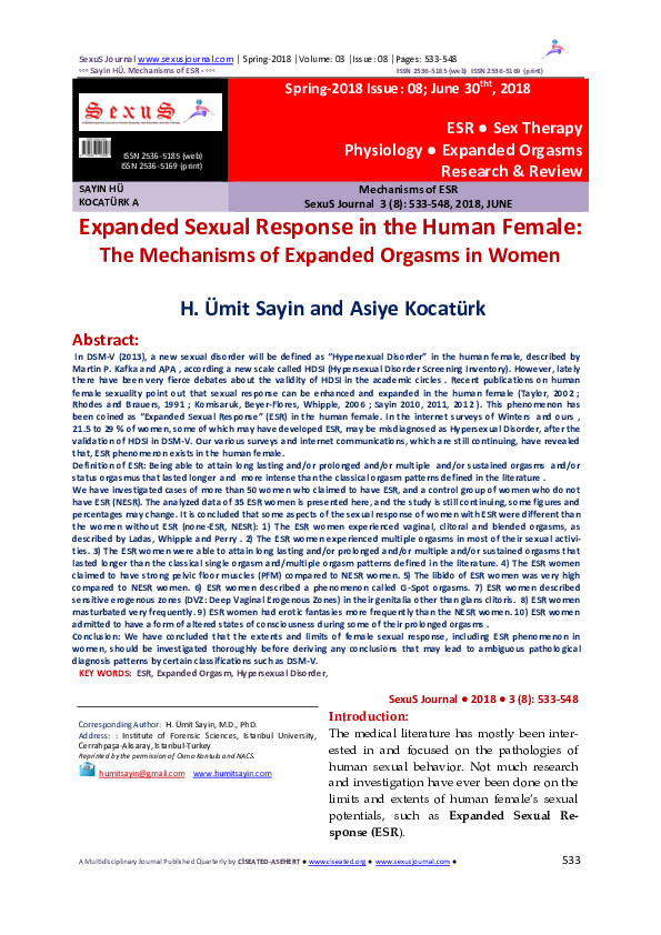 PDF) Expanded Sexual Response in the Human Female: The Mechanisms ...