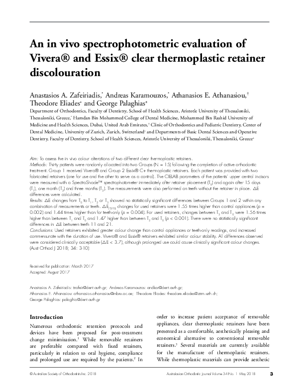 PDF) An in vivo spectrophotometric evaluation of Vivera® and