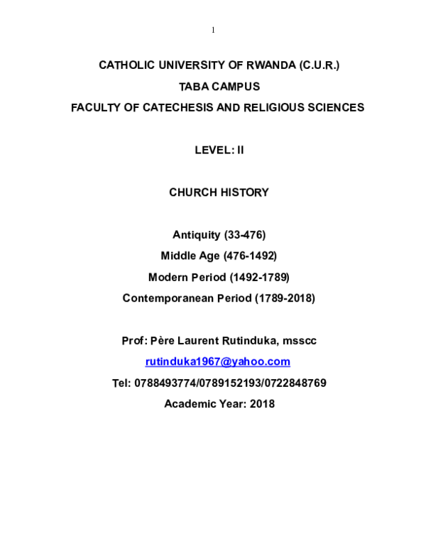 DOC) Church History I Universelle RWANDA 30 2018 (1)   jeanfelix