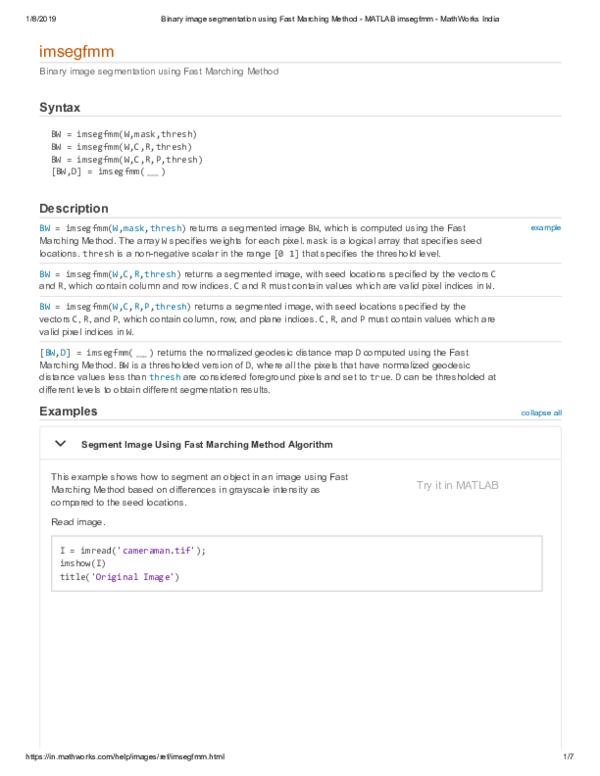 PDF) Binary image segmentation using Fast Marching Method MATLAB