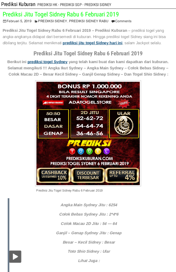 PDF) Prediksi Jitu Togel Sidney Rabu 6 Februari 2019 _