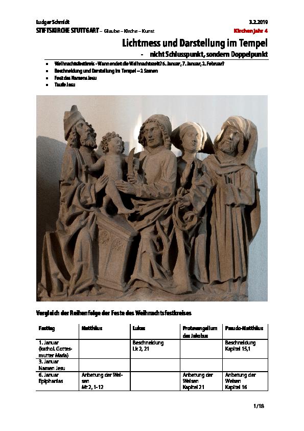 Pdf Kirchenjahr 4 Lichtmess Und Darstellung Im Tempel