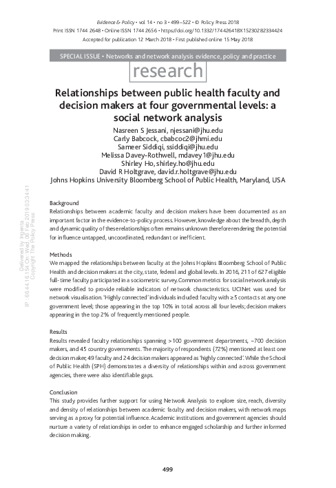 PDF) Relationships between public health faculty and decision makers