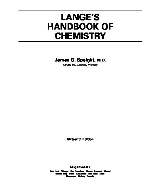 PDF) Lange's Handbook of Chemistry 16e FULL - G  Speight (McGraw