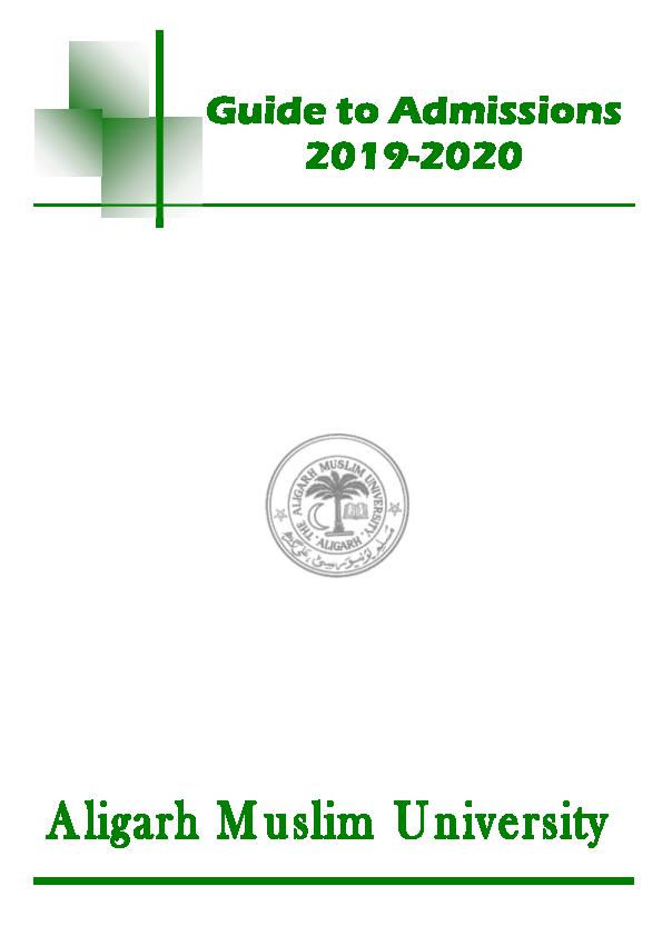 Pdf Aligarh Muslim University Amu Guide 2019 20 Pdf Dr Abdussamed K Academia Edu