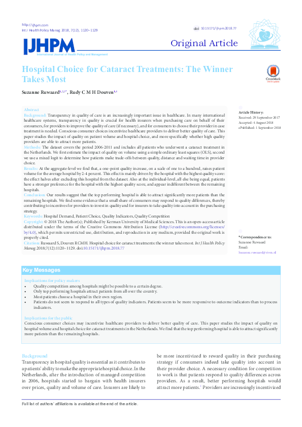 PDF) Hospital Choice for Cataract Treatments: The Winner