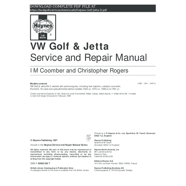 PDF) haynes-golf-jetta-ii-pdf_2492232.pdf | book P D F ... on