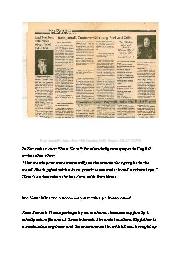 PDF) Rosa Jamali's Interview with Iranian Daily Paper; IRAN NEWS ...