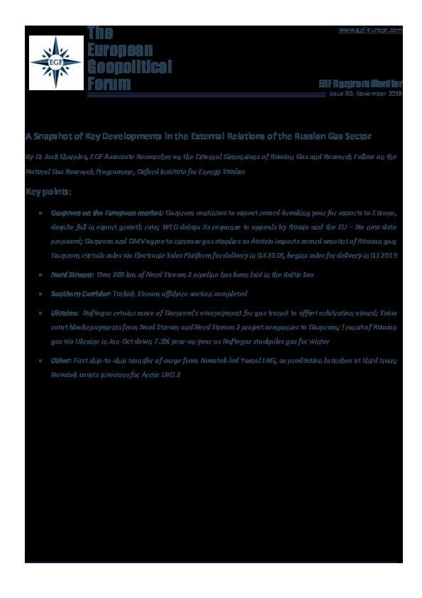 PDF) Gazprom Monitor № 90 November 2018 | Jack D Sharples