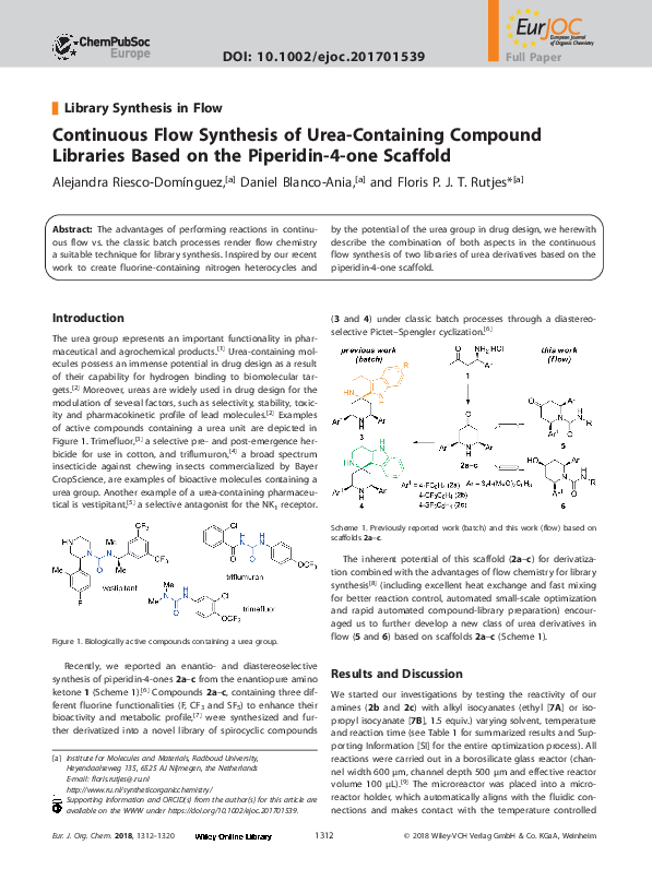 PDF) Continuous Flow Synthesis of Urea-Containing CompoundLibraries