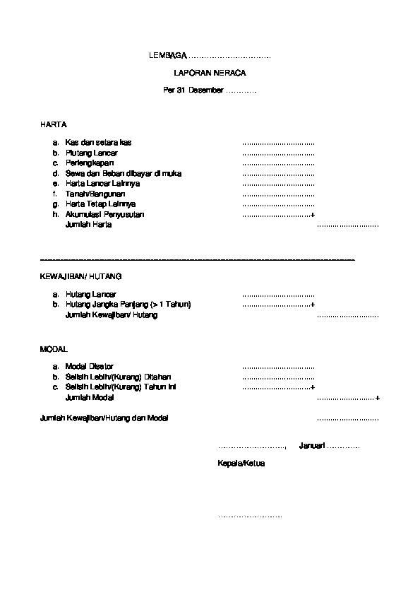 Doc Contoh Format Laporan Neraca Lembaga Pendidikan Spt Tahunan Docx Javanet Mail Academia Edu