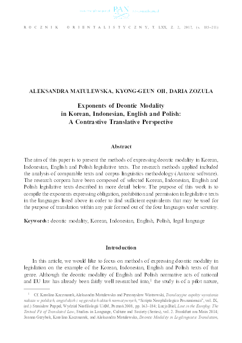 PDF) Exponents of Deontic Modality in Korean,Indonesian