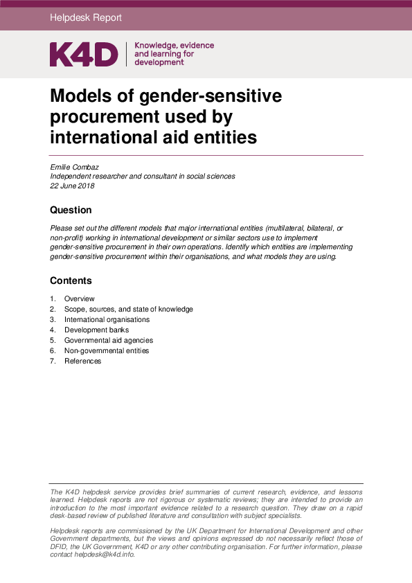 PDF) Models of gender-sensitive procurement used by