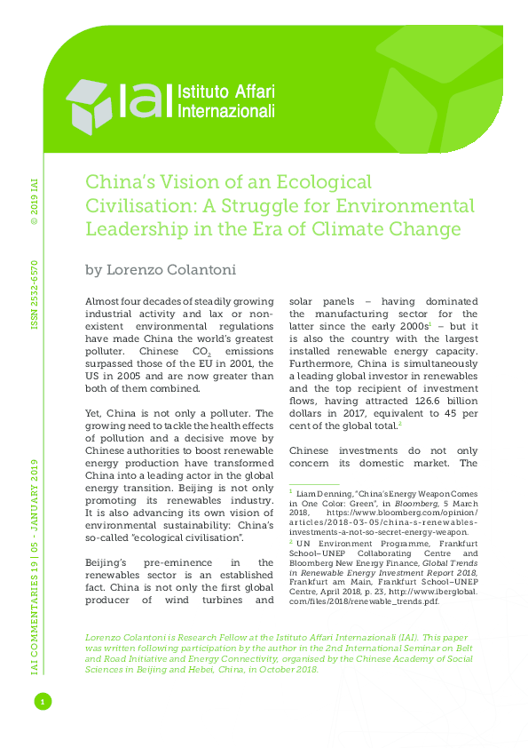 PDF) China's Vision of an Ecological Civilisation: A