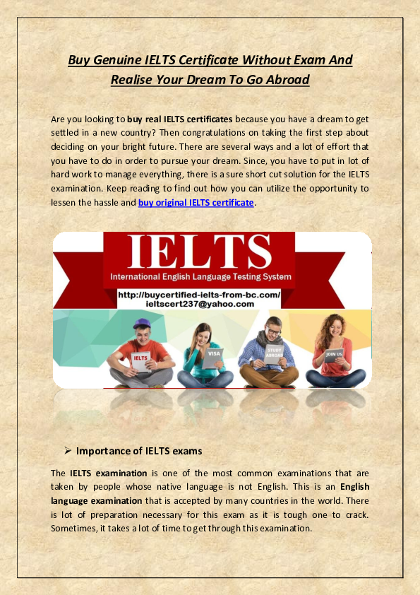 PDF) Buy Genuine IELTS Certificate Without Exam And Realise Your