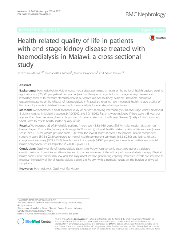 PDF) Health Related Quality of life of patients with end