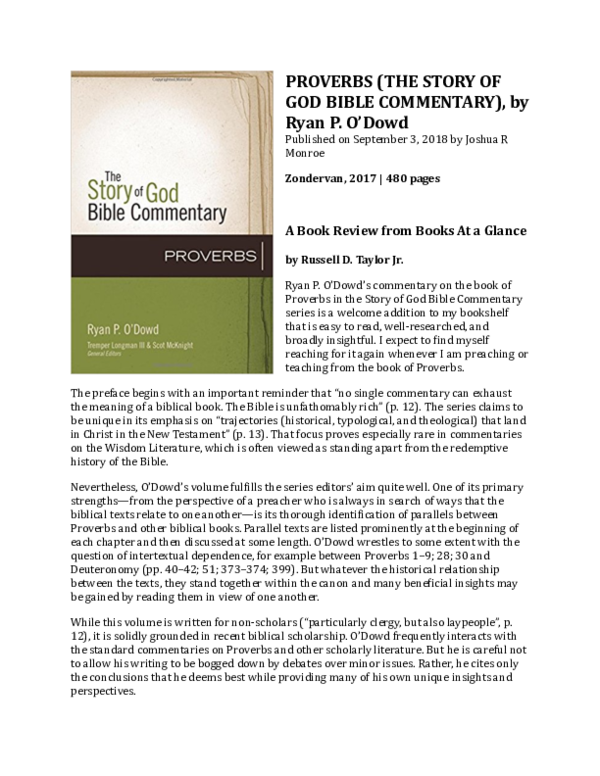 PDF) Book Review: The Story of God Bible Commentary