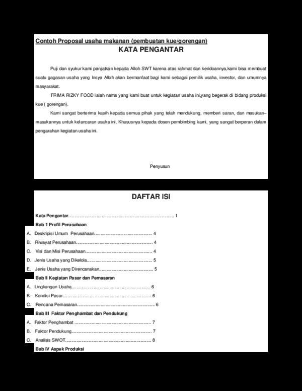 Doc Contoh Proposal Usaha Makanan Rohmat Tamvan Academia Edu