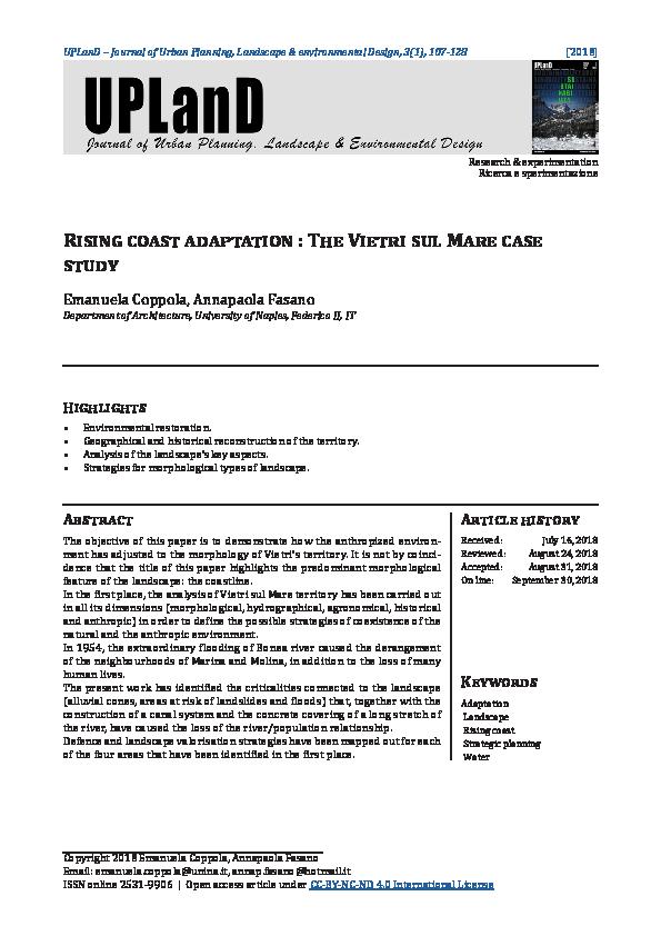 PDF) Rising coast adaptation : The Vietri sul Mare case