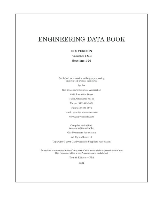 Gas Processors Suppliers Association - GPSA Engineering Data Book