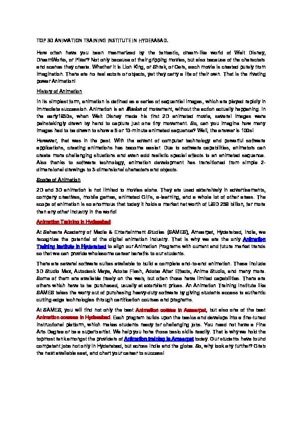 PDF) TOP 3D ANIMATION TRAINING INSTITUTE IN HYDERABAD  pdf