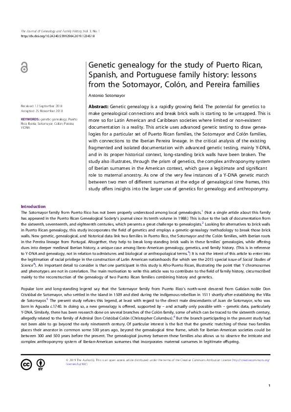 PDF) Genetic genealogy for the study of Puerto Rican