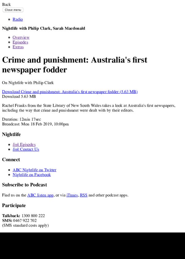 PDF) Philip Clark interviews: Rachel Franks (Crime and Punishment