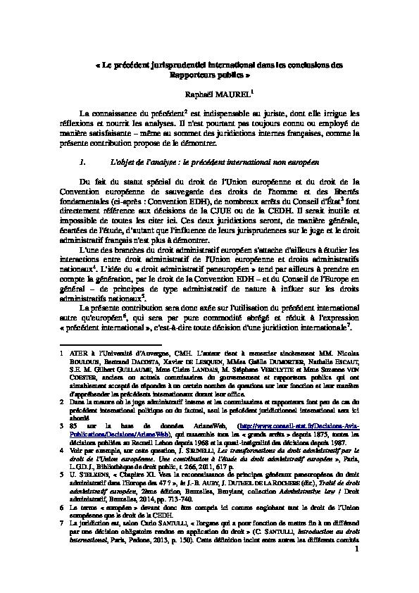 PDF) Le prcdent international dans les conclusions des ...