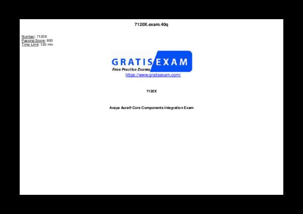 PDF) Gratisexam com Avaya Pass4sure 7120X v2019 01 05 by