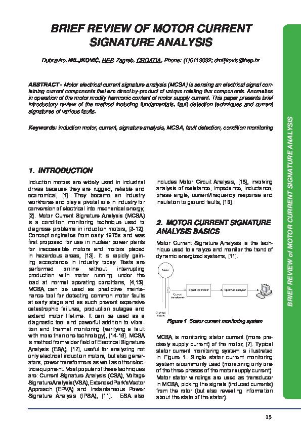 Pdf Brief Review Of Motor Current Signature Analysis 1 Prem Kumar Academia Edu