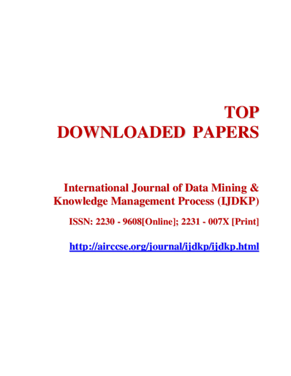 PDF) Top Downloaded Papers : Data Mining & Knowledge