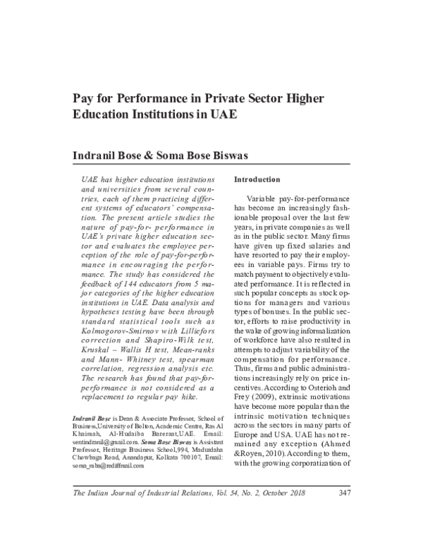 PDF) Pay for performance in private sector higher education