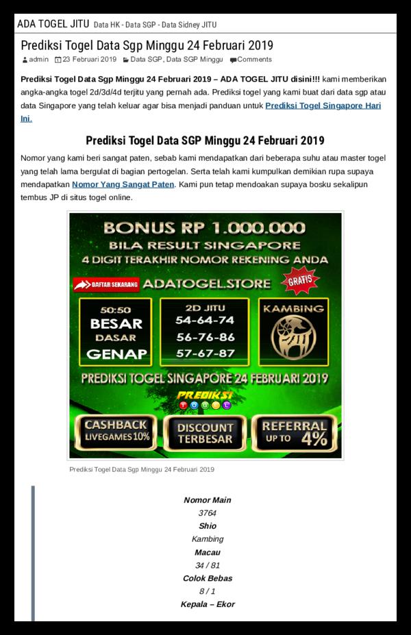 PDF) Prediksi Togel Data Sgp Minggu 24 Februari 2019 pdf   manalu