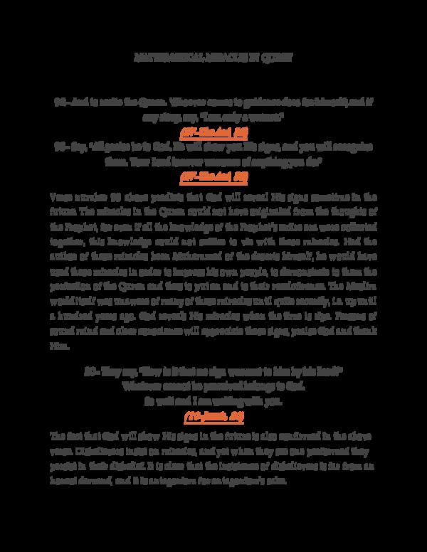 PDF) MATHEMATICAL MIRACLES IN QURAN pdf | Zin Eddine Dadach