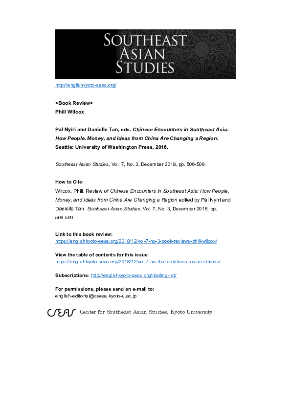 PDF) Review of Chinese Encounters in Southeast Asia: How People