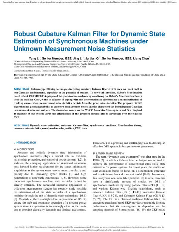 PDF) Robust Cubature Kalman Filter for Dynamic State Estimation of