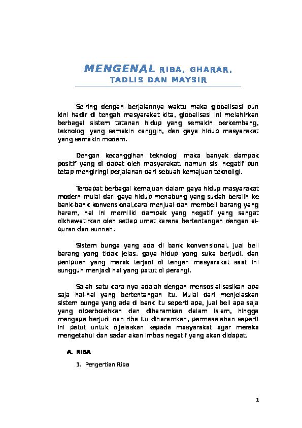 Doc Mengenal Riba Gharar Tadlis Dan Maysir Doc Rizkaul Hasanah Fachruddin Academia Edu