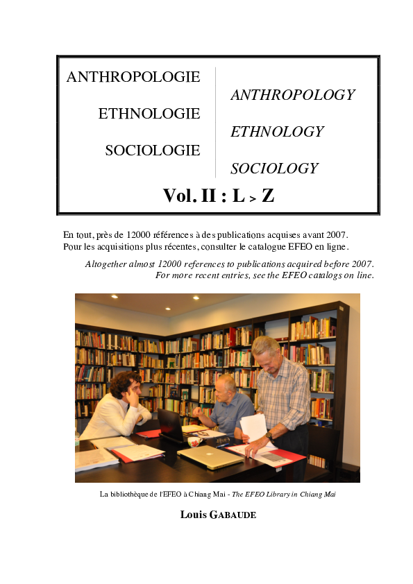 PDF) ANTHROPOLOGIE / ANTHROPOLOGY - ETHNOLOGIE / ETHNOLOGY
