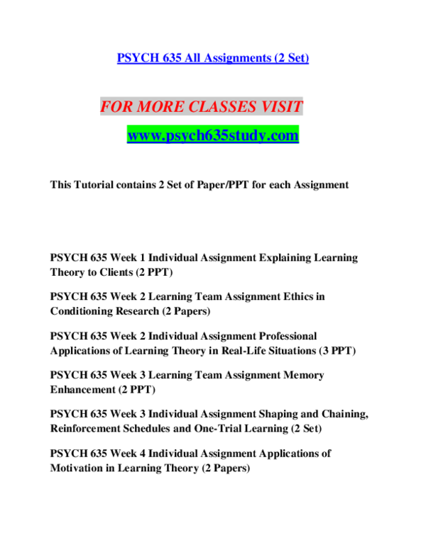 PDF) PSYCH 635 STUDY Achievement Education / psych635study com