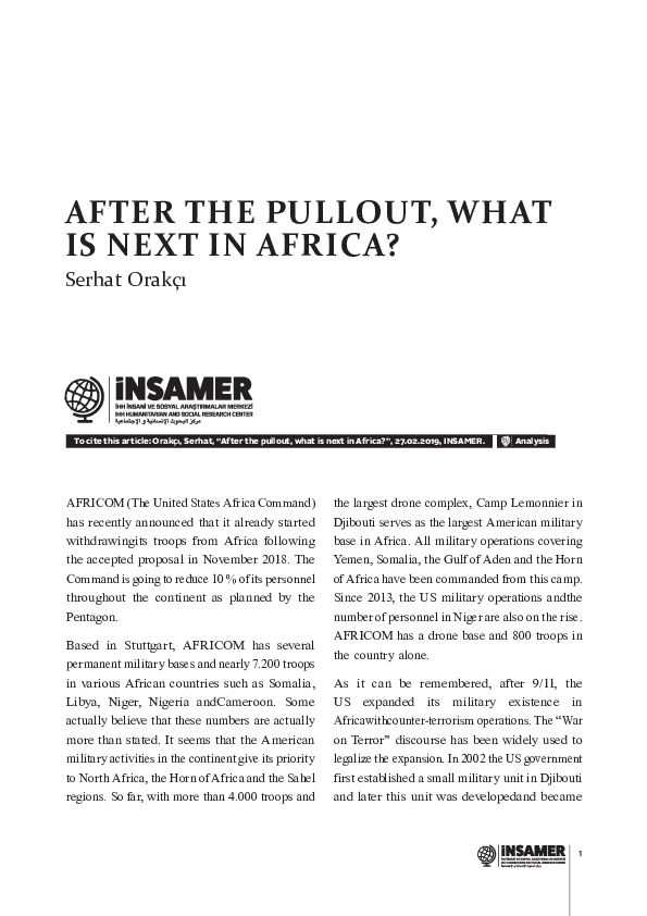 PDF) After the pullout, what is next in Africa