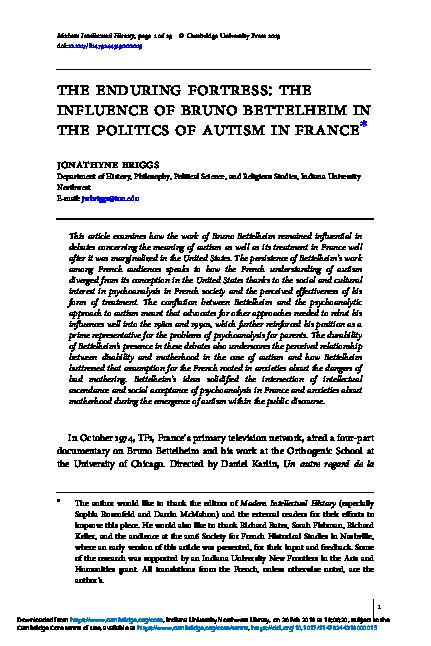a case study in psychoanalytic treatment bettelheim on autism