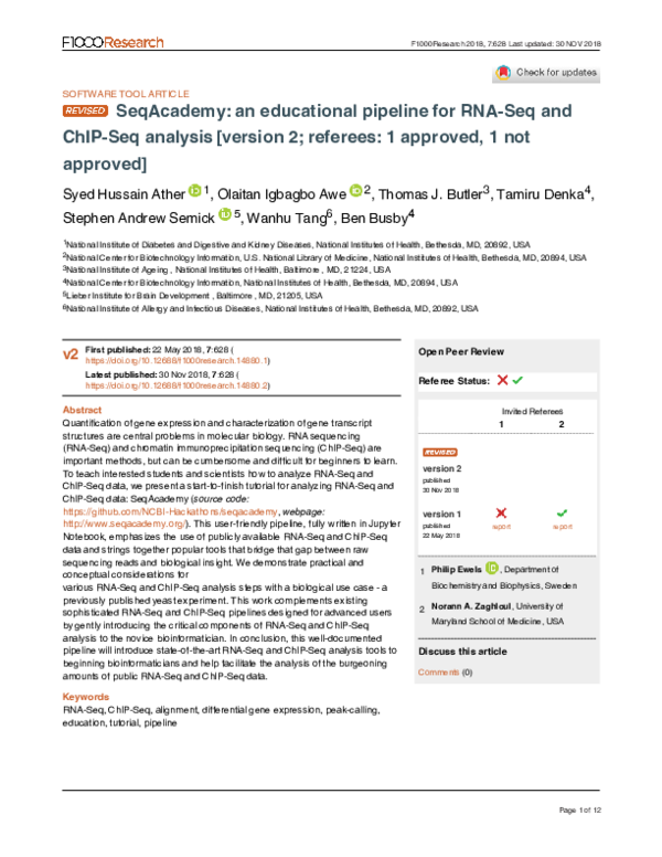 PDF) SeqAcademy: an educational pipeline for RNA-Seq and