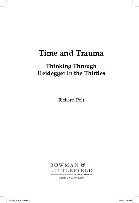 Time and Trauma Thinking Through Heidegger in the Thirties