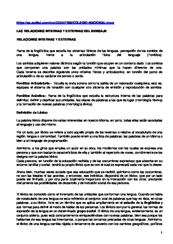 Doc Las Relaciones Externas E Internas Del Lenguaje
