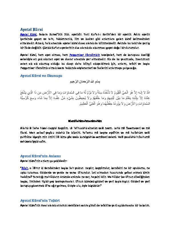 Pdf Ayetel Kursi Pdf Sinan Kanmaz Academia Edu