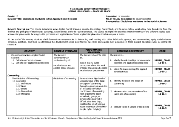 Pdf Humss Disciplines And Ideas In Applied Social Sciences Cg Pdf Matilda Mauser Academia Edu