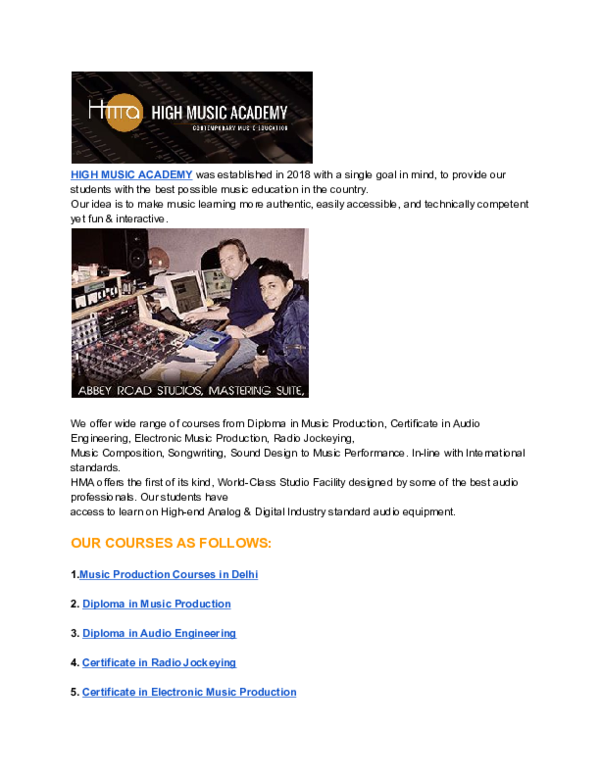 PDF) Music Production Courses in Delhi NCR, Radio Jockey