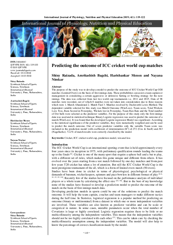 PDF) Predicting the outcome of ICC cricket world cup matches