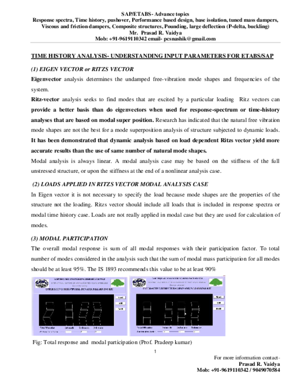 PDF) Time history analysis-Understanding input parameters