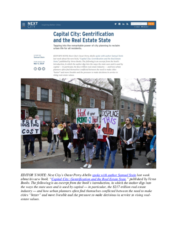 PDF) Capital City: Gentrification and the Real Estate State